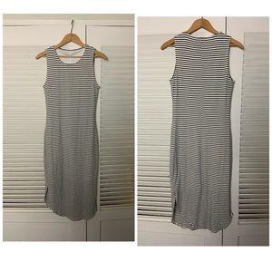 S/M Blk White Stripe long dress Tunic dress